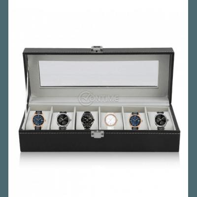 Кутия за часовници с 6 отделения еко кожа