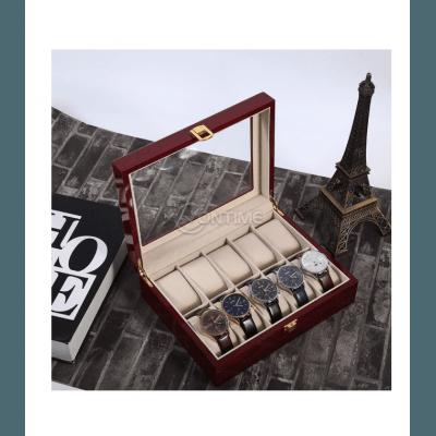 Дървена кутия за часовници - лукс с 10 отделения