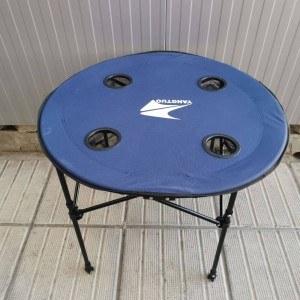 Сгъваема маса за къмпинг с 4 отделения за чаши, диаметър 62см.