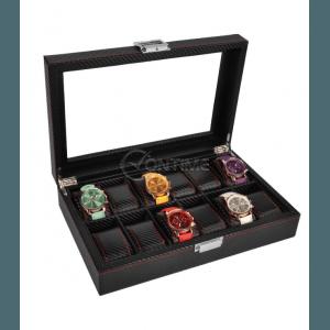 Кутия за часовници - карбон с 12 отделения