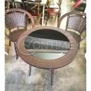 Ратанова маса с черно стъкло
