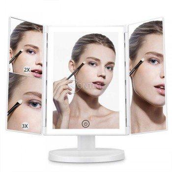 Огледало за грим - сгъваемо, 3 х Увеличение, Led светлини, стойка