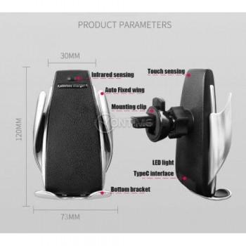 Поставка за телефон, сензорно заключване S5, Fast Wireless Charger (Qi standard)