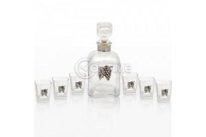 Стъклена бутилка за ракия с 6 чаши, сребърна декорация