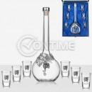 Бутилка за ракия с 6 чаши, кристал, сребро