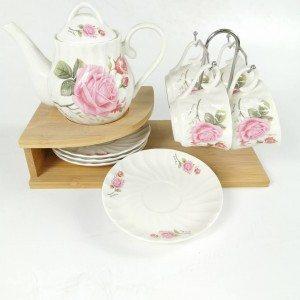Сервиз за чай или кафе с кана, дървена стойка, 4 чаши и чинии