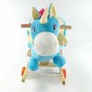 Детска дървена люлка и количка 2 в 1 Еднорог, син цвят