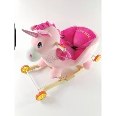 Детска дървена люлка и количка 2 в 1 Еднорог, розов цвят