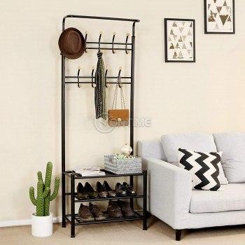 Закачалка за дрехи с рафтове за обувки - портманто, черен, бял цвят