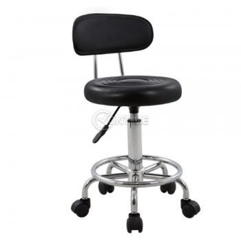 Работен стол с амортисьор, еко кожа, черен