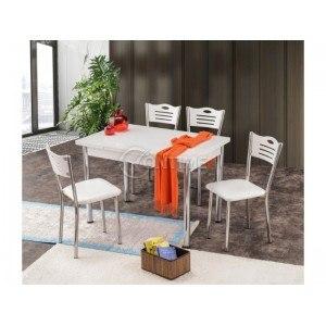 Трапезна разтегателна маса с 4 стола ОКЕАН ТРАКИЯ- БЯЛО