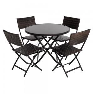 Ратанов сгъваем комплект маса с 4 стола Лукс