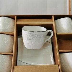 Порцеланов комплект за кафе 6 чаши и чинийки Grotto
