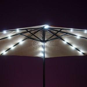 Градински чадър 3 метра, LED светлини, соларна батерия, чупещо рамо