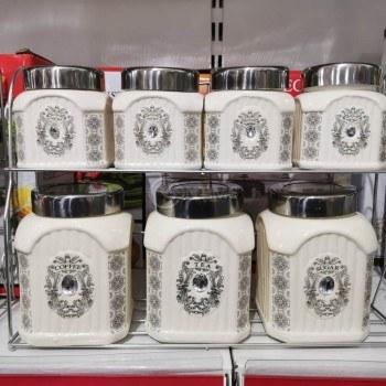 Комплект за подправки, кафе, чай, захар от 7 части и метална стойка