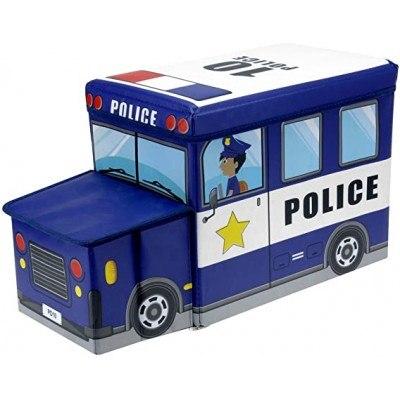 Детска текстилна табуретка, камион Police, 55/30/25см