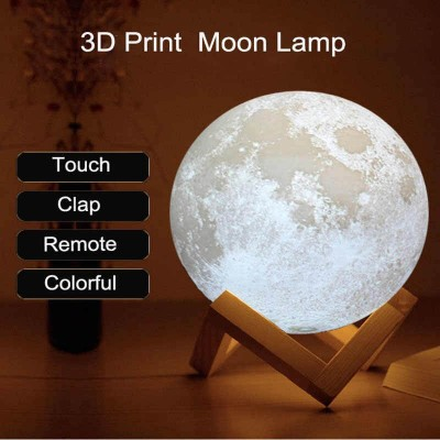 Нощна декоративна лампа 3D луна USB, 4 светлини, смяна на цвета чрез почукване