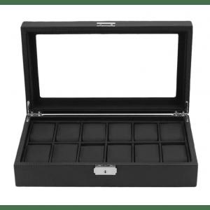Кутия за часовници и бижута 12 отделения Карбон Лукс