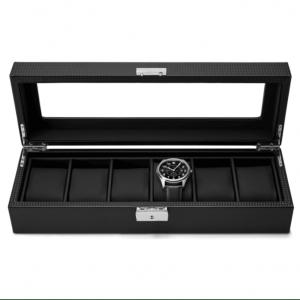 Кутия за часовници и бижута, 6 отделения, Карбон Лукс