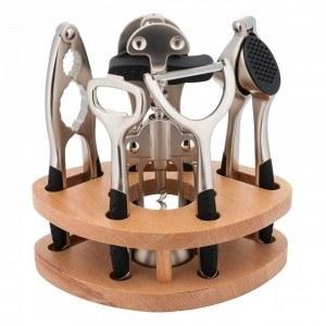 Комплект кухненски прибори, 7 части, дървена стойка