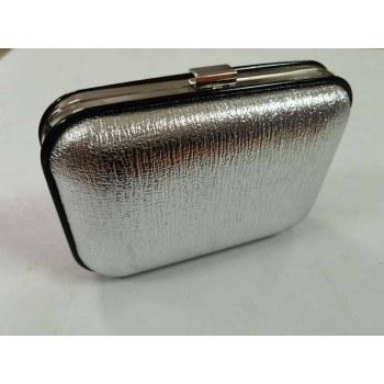 Дамска чанта клъч, сребърна, 20 х 15см