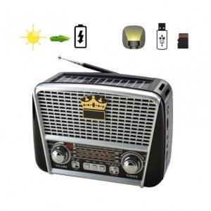 Ретро радио Golon RX-BT455S, соларен панел, Bluetooth, MP3, фенер