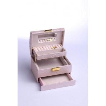 Кутия за бижута, пепел от рози, релефна кожа, B14
