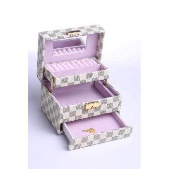 Кутия за бижута, кариран дизайн, 3 нива, B15