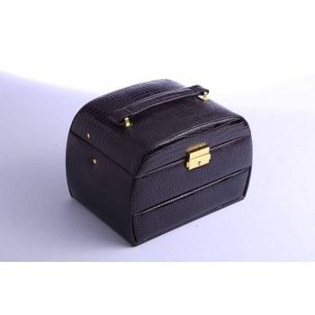 Кутия за бижута, релефна кожа, черен цвят, B25