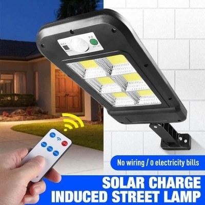 Улична лед лампа 23/11см, индукционна, соларен панелн, сензор, дистанционно
