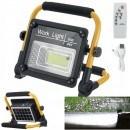 Преносим LED прожектор 50W, соларен панел, акумулаторна батерия