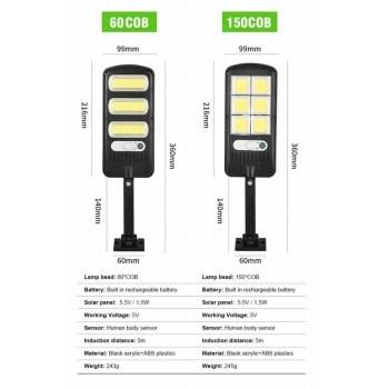 Улична лед лампа COB 21/10см ,три индукционни режима, соларен панелн, стойка