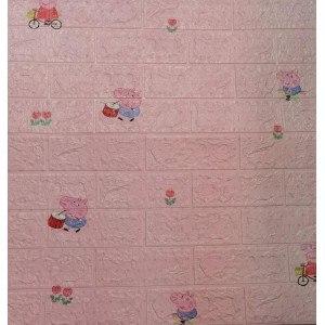 Тапет 3D тухли 70 х 77см, розов цвят, Peppa Pig