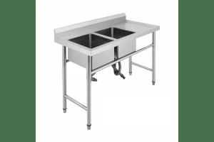Професионална мивка 180/60/85см, неръждаема стомана, две корита, десен плот