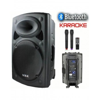 Караоке тонколона F12, Bluetooth, 2 микрофона, акумулаторна батерия, FM радио