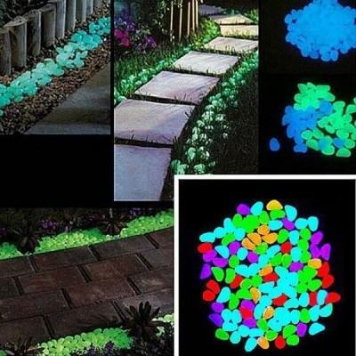 Светещи декоративни градински камъни 100бр