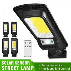 Соларна лампа 136 COB, дистанционно, 3 режима, 360° въртене