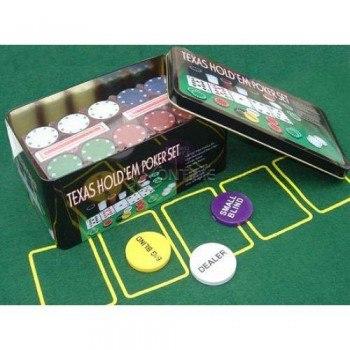 Покер комплект с 200 чипа, две тестета карти и покривка за Blackjack